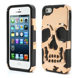 iPhone SE / 5 / 5S Siliconen Schedel Cover Case Brons