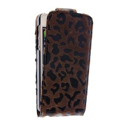 Apple iPhone 5 / 5S / SE Leopard Flip Case Hoesje Bruin