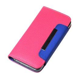 iPhone 5 / 5S / SE Litchi Wallet Portemonnee Roze-Blauw