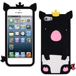 iPhone 5 / 5S / SE Cute Pig Silicone Back Case - Zwart