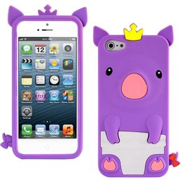 iPhone 5 / 5S / SE Cute Pig Silicone Back Case - Paars