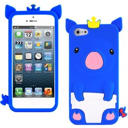 iPhone 5 / 5S / SE Cute Pig Silicone Back Case - Donker Blauw