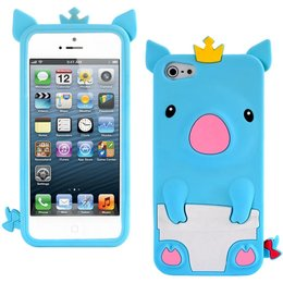 iPhone 5 / 5S / SE Cute Pig Silicone Back Case - Blauw