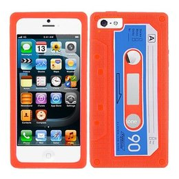 iPhone 5 / 5S / SE Retro Casette Silicone Back Case - Oranje