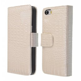 iPhone 5 / 5S Croco Wallet Case Portemonnee Gebroken Wit