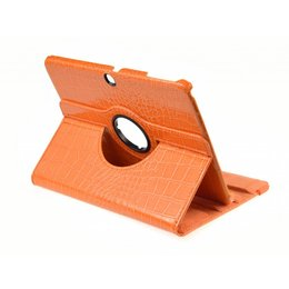 Samsung Galaxy Tab 4 10.1 Rotating Case Croco Oranje