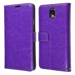 KDS Galaxy Note 3 Vintage Book Style Wallet Case Portemonnee Paars