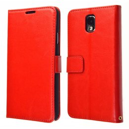 KDS Galaxy Note 3 Vintage Book Style Wallet Case Portemonnee Rood