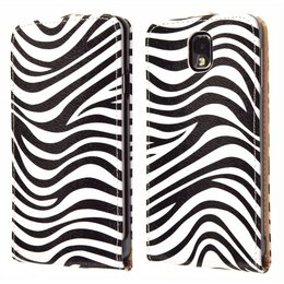 Galaxy Note 3 Vintage Flip Cover Case Zebra