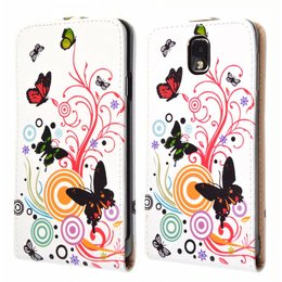 Galaxy Note 3 Vintage Flip Cover Case Butterfly