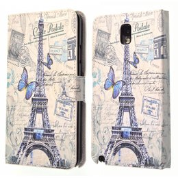 Galaxy Note 3 Vintage Wallet Case Portemonnee Parijs