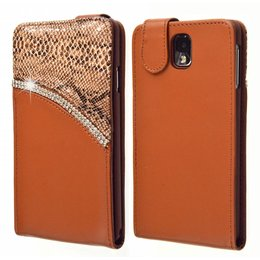 Galaxy Note 3 Strass-Accenten Flip Case Cover Bruin