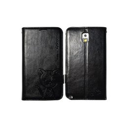 Leiers Domi Cat Galaxy Note 3 Lovely Wallet Case Portemonnee - Zwart