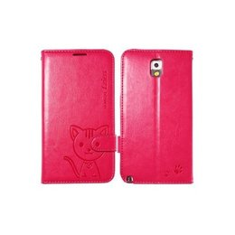 Leiers Domi Cat Galaxy Note 3 Lovely Wallet Case Portemonnee - Rood