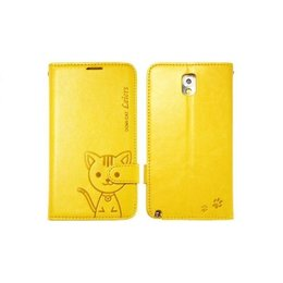 Leiers Domi Cat Galaxy Note 3 Lovely Wallet Case Portemonnee - Geel