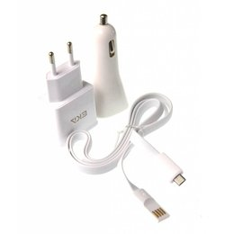 EKA 3 in 1 Micro USB Lader Set Wit