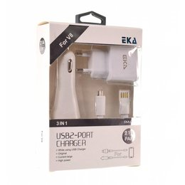 EKA 3 in 1 Micro USB Lader Blisterset Wit