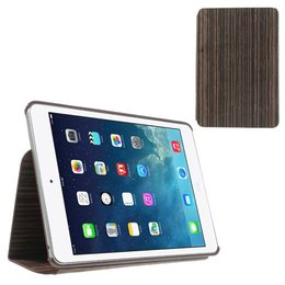 Apple iPad Mini Hout Print Flip Stand Case - Donker Bruin
