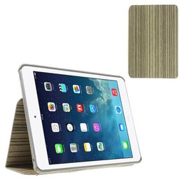 Apple iPad Mini Hout Print Flip Stand Case - Licht Grijs