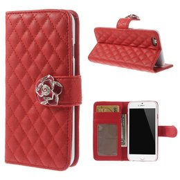 Apple iPhone 6 / 6S Diamant Bling Wallet Case Portemonnee Rood