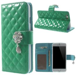 Apple iPhone 6 / 6S Diamant Bling Hanger Wallet Case Portemonnee Groen