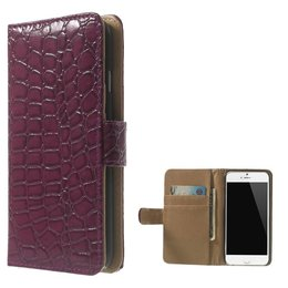 Apple iPhone 6 / 6S Croco Look Wallet Portemonnee Paars