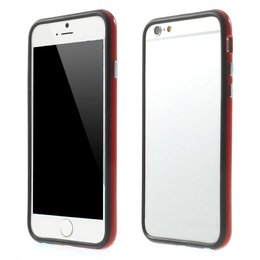 Apple iPhone 6 / 6S TPU Hybrid Bumper Case Zwart / Rood