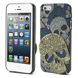 iPhone SE / 5 / 5S 3D Skull Schedel Case Goud