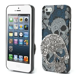 iPhone SE / 5 / 5S 3D Skull Schedel Case Zilver