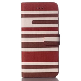 Apple iPhone 6 / 6S Wallet Case Portemonnee Stripes Bruin