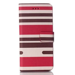 Apple iPhone 6 / 6S Wallet Case Portemonnee Stripes Rood