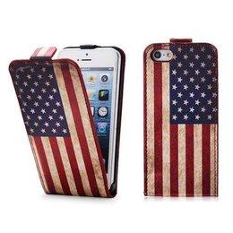 Faux Flip Case USA Vlag iPhone 5 / 5S / SE