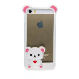 Apple iPhone 5 / 5S / SE 3D Cute TeddyBeer Hoesje Wit