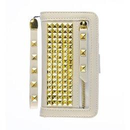 Cool Case iPhone SE / 5 / 5S Hoesje met Gouden Studs Wit