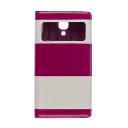 S-View Lederen Flip Cover Galaxy S4 Roze / Wit