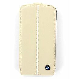 BMW Samsung Galaxy S4 Real Leather Bookcase - Cream