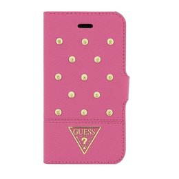 GUESS iPhone 4 / 4S Tessi Book Case met Gouden Studs - Hot Pink