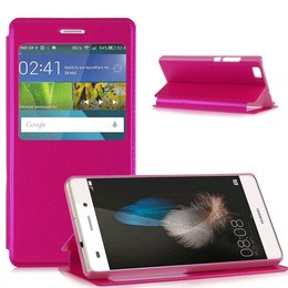 Huawei P8 Lite Hoesje Window View Case - Donker Roze