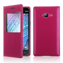 Samsung Galaxy J1 Hoesje S-view Cover - Donker Roze