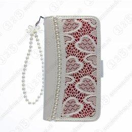 Cool Case Galaxy S4 Wallet Case Parel-Accenten Wit