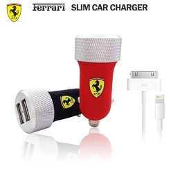 Ferrari Rubber-Aluminium Dual USB 2.1A+30 en 8 Pin Lightning USb Data Kabel