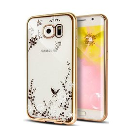Silicon TPU Case Flower Butterfly Goud Hoesje voor Samsung Galaxy S7