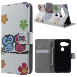 LG Nexus 5X Lederen Stand Wallet Flip Case Adorable Owls and Flowers