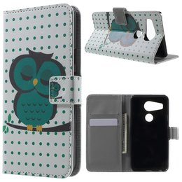 LG Nexus 5X Lederen Stand Wallet Flip Case Sleeping Owl on the Branch