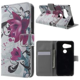 LG Nexus 5X Lederen Stand Wallet Flip Case Purple Flowers
