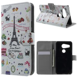 LG Nexus 5X Lederen Stand Wallet Flip Case Eiffel Tower