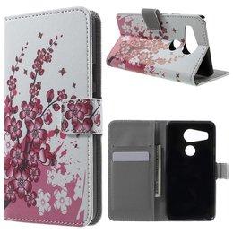 LG Nexus 5X Lederen Stand Wallet Flip Case Plum Blossom
