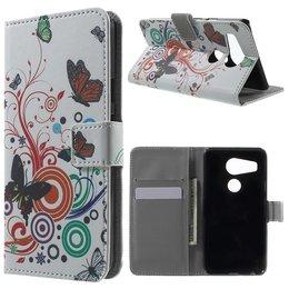 LG Nexus 5X Lederen Stand Wallet Flip Case Butterfly Circles
