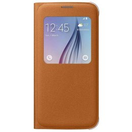 Samsung Galaxy S6 S-View Premium Originele Case Cover Canvas - Oranje