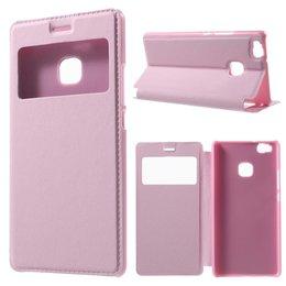 Huawei P9 Lite Hoesje Window View Case - Licht Roze